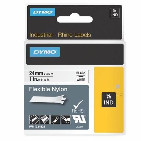 Taśma Dymo 1734524 biała/czarny druk, 24 mm, elastyczna nylonowa