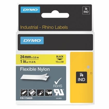 Taśma Dymo 1734525 żółta/czarny druk, 24 mm, elastyczna nylonowa