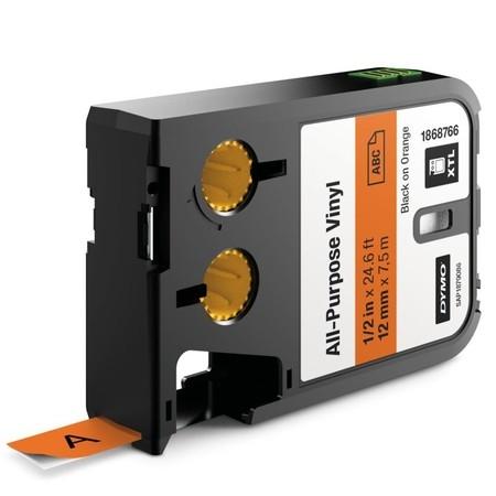 Taśma Dymo XTL 1868766 pomarańczowa/czarny druk, 12 mm, winylowa