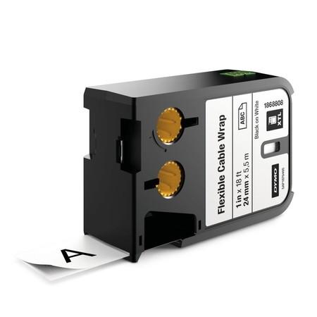 Taśma Dymo XTL 1868808 biała/czarny druk, 24 mm, elastyczna nylonowa