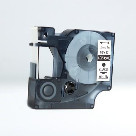 Taśma ADP-45013 biała/czarny druk, 12 mm