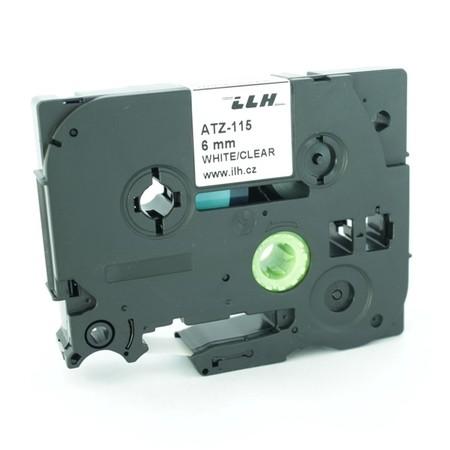 Taśma ATZ-115 przezroczysta/biały druk, 6 mm