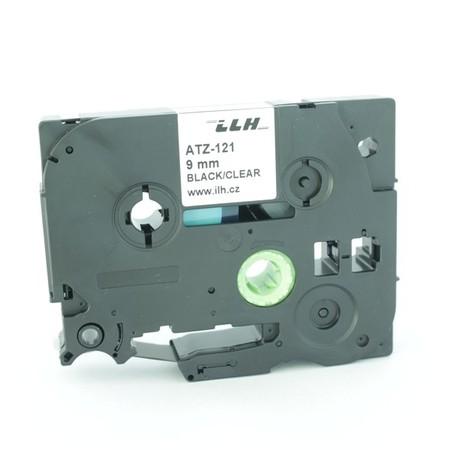 Taśma ATZ-121 przezroczysta/czarny druk, 9 mm