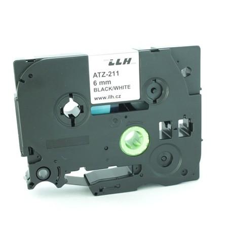 Taśma ATZ-211 biała/czarny druk, 6 mm