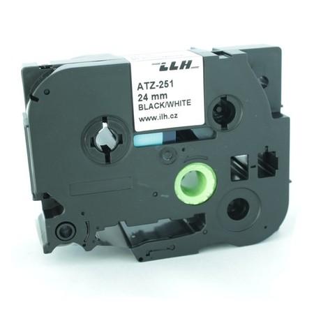 Taśma ATZ-251 biała/czarny druk, 24 mm