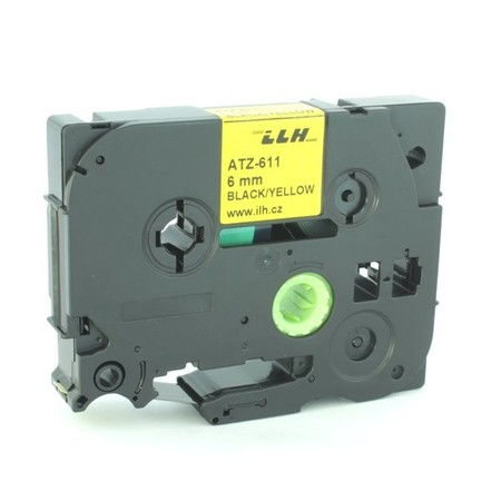 Taśma ATZ-611 żółta/czarny druk, 6 mm