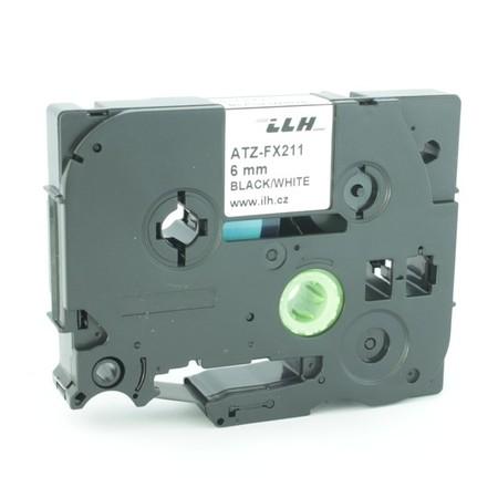 Taśma ATZ-FX211 biała/czarny druk, 6 mm, elastyczna
