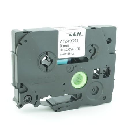 Taśma ATZ-FX221 biała/czarny druk, 9 mm, elastyczna