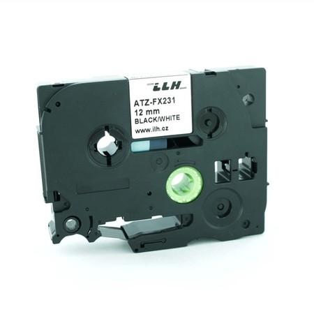 Taśma ATZ-FX231 biała/czarny druk, 12 mm, elastyczna
