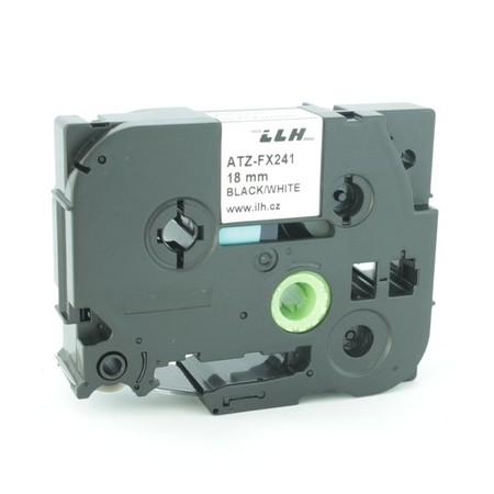 Taśma ATZ-FX241 biała/czarny druk, 18 mm, elastyczna