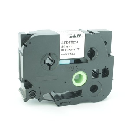Taśma ATZ-FX251 biała/czarny druk, 24 mm, elastyczna