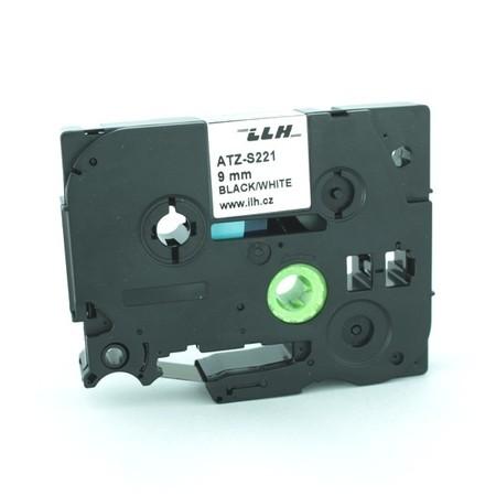 Taśma ATZ-S221 biała/czarny druk, 9 mm, mocny klej