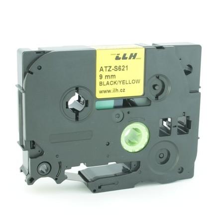 Taśma ATZ-S621 żółta/czarny druk, 9 mm, mocny klej