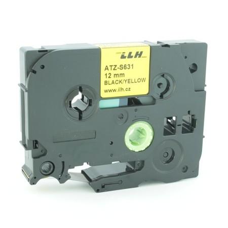 Taśma ATZ-S631 żółta/czarny druk, 12 mm, mocny klej