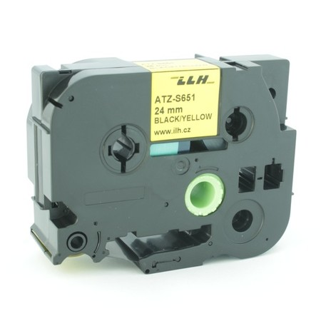 Taśma ATZ-S651 żółta/czarny druk, 24 mm, mocny klej