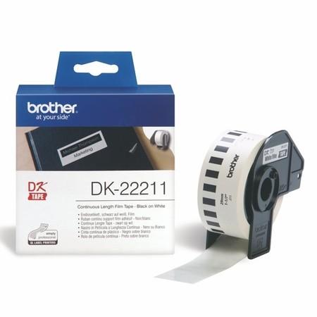 Taśma foliowa ciągła Brother DK22211 biała, szerokość 29 mm