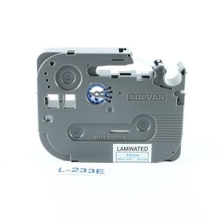 Taśma Supvan L-233E biała/niebieski druk, 12 mm