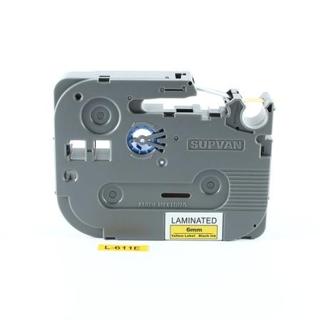 Taśma Supvan L-611E żółta/czarny druk, 6 mm