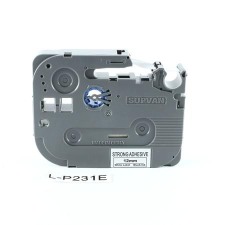 Taśma Supvan L-P231E biała/czarny druk, 12 mm, mocny klej