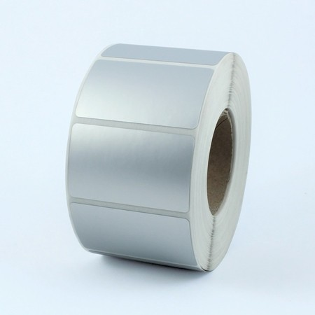 Etykiety foliowe 80x60 mm srebrne, 1000 szt.