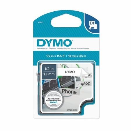 Taśma Dymo S0718040 biała/czarny druk, 12 mm, elastyczna nylonowa
