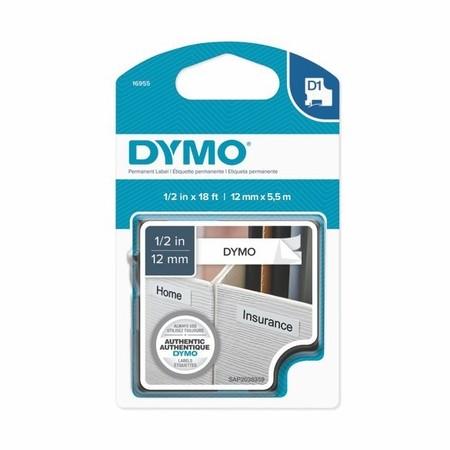 Taśma Dymo S0718060 biała/czarny druk, 12 mm, mocny klej