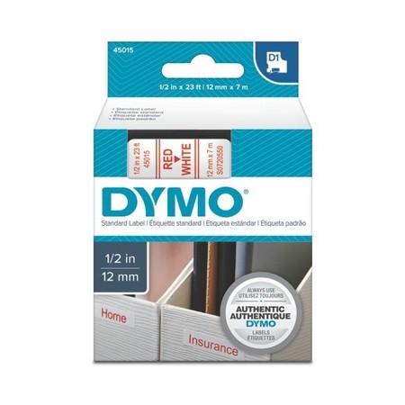 Taśma Dymo S0720550 biała/czerwony druk, 12 mm