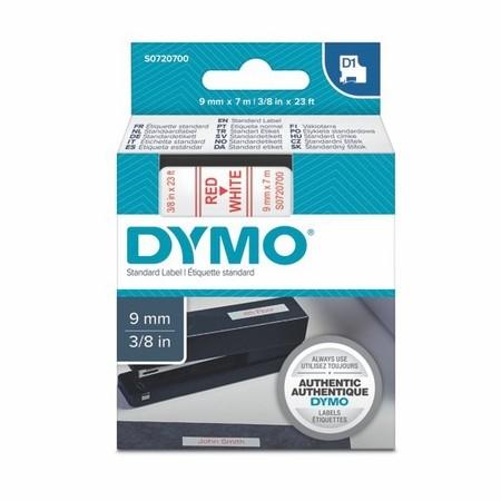 Taśma Dymo S0720700 biała/czerwony druk, 9 mm