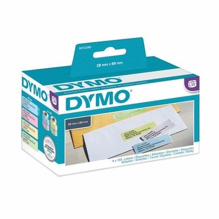 Etykiety papierowe Dymo S0722380, 89x28 mm, mix kolorów, 4x130 szt.