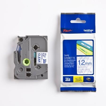 Taśma Brother TZE-133 przezroczysta/niebieski druk, 12 mm