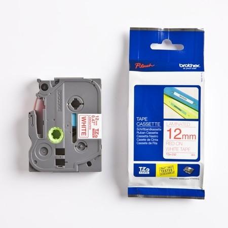 Taśma Brother TZE-232 biała/czerwony druk, 12 mm