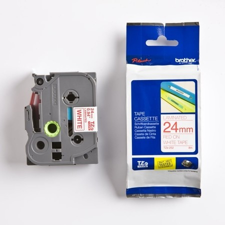 Taśma Brother TZE-252 biała/czerwony druk, 24 mm