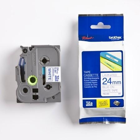 Taśma Brother TZE-253 biała/niebieski druk, 24 mm