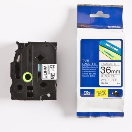 Taśma Brother TZE-261 biała/czarny druk, 36 mm