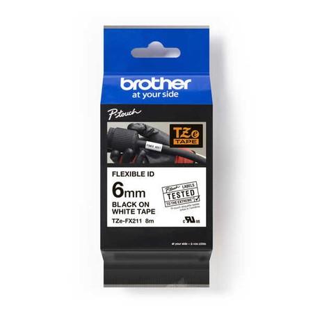Taśma Brother TZE-FX211 biała/czarny druk, 6 mm, elastyczna