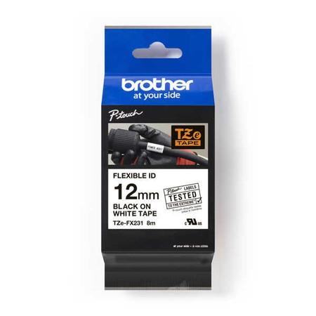 Taśma Brother TZE-FX231 biała/czarny druk, 12 mm, elastyczna