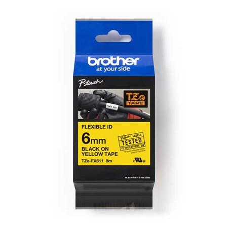 Taśma Brother TZE-FX611 żółta/czarny druk, 6 mm, elastyczna
