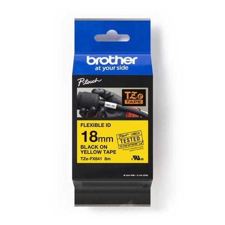 Taśma Brother TZE-FX641 żółta/czarny druk, 18 mm, elastyczna