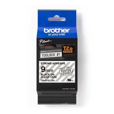 Taśma Brother TZE-S121 przezroczysta/czarny druk, 9 mm, mocny klej