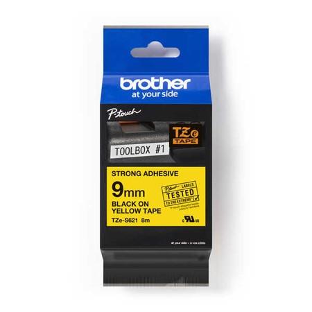 Taśma Brother TZE-S621 żółta/czarny druk, 9 mm, mocny klej