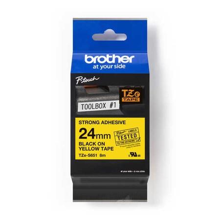 Taśma Brother TZE-S651 żółta/czarny druk, 24 mm, mocny klej